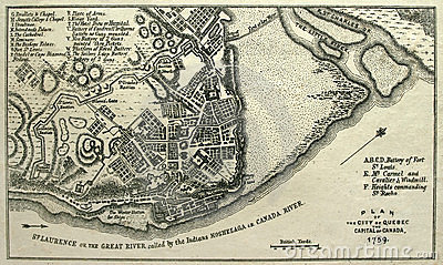 Apreenda o mapa de Quebec City, 1759.