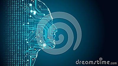 Aprendizaje automático futuro de la tecnología de IA, informática digital rápida humana, revolución de robots ilustración del vector