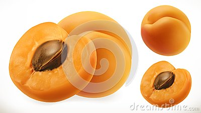 Apricot. Fresh fruit 3d vector icon Vector Illustration
