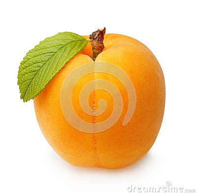 Free Apricot Fruit With Leaf Isolated Royalty Free Stock Image - 56630246