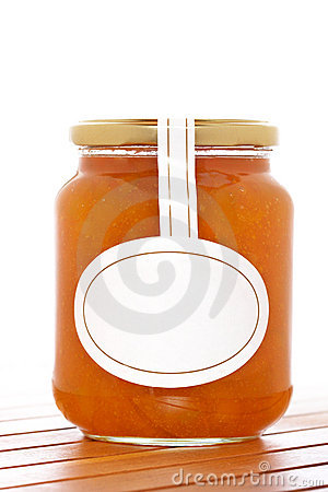 Apricot jam glass jar