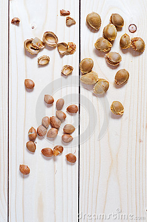 Apricot pits and shells