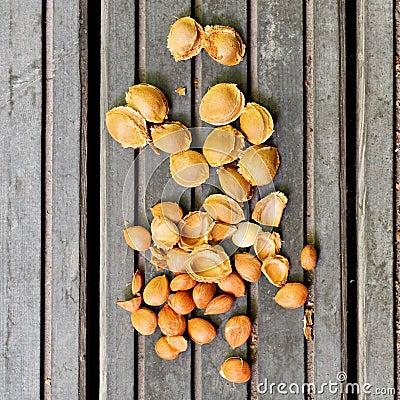 Apricot pits on wood