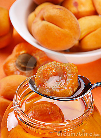Apricot in spoon