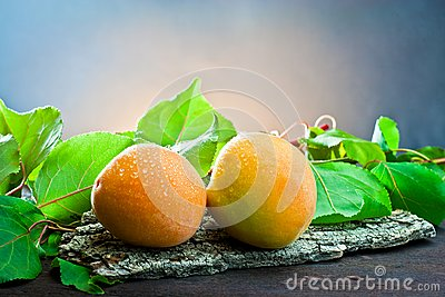 Apricot on wood and background leaf