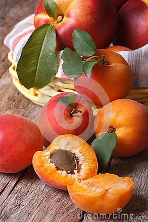 Free Apricots Close-up On A Background Of A Basket Of Fruit  Vertical Royalty Free Stock Image - 42492136