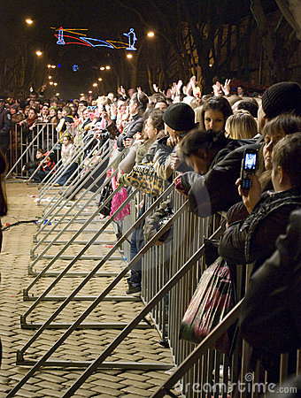 April Fool s day: people watch free concert Editorial Photography