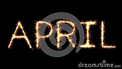 April Text Sparkler Glitter Sparks-de Animatie van de Vuurwerklijn stock video