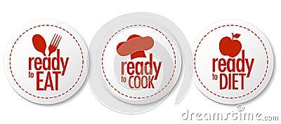 Apronte para comer, fazer dieta e cozinhar etiquetas