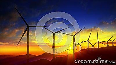 Aproveitamento limpo, energias eólicas das turbinas do moinho de vento