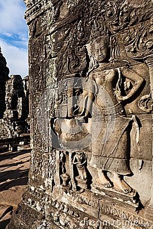 Apsara dancer wall carving