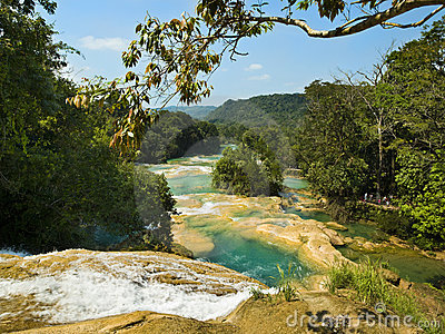 Aqua Azul waterfall in Chiapas Mexico