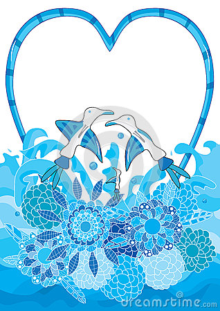 Aqua Bird Love Flower Decor_eps