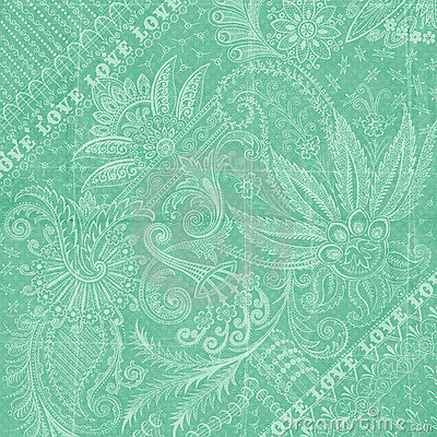 Aqua blue Antique Floral Damask Background