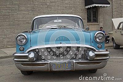 1955 Aqua Blue Buick Special Car Front View Editorial Photo