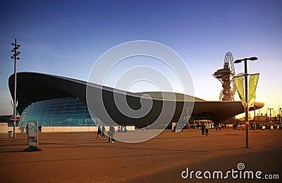 Aqua centre of London s Olympic village Editorial Photo