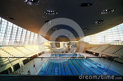 Aqua centre of London s Olympic village Editorial Stock Photo