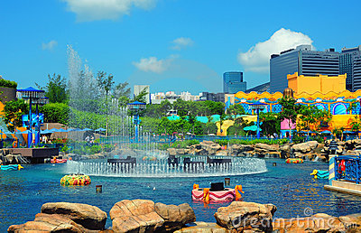 Aqua city fountain at ocean park hong kong Editorial Image