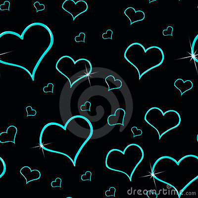 Aqua Hearts Seamless Background
