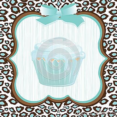 Aqua leopard print cupcake birthday
