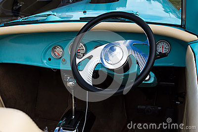 aqua vintage car interior steering wheel stock photo image 53898514. Black Bedroom Furniture Sets. Home Design Ideas