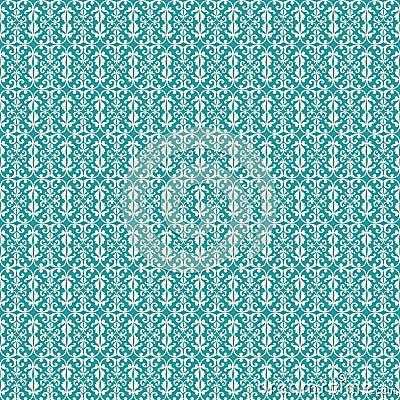Aqua Vintage Fleur De Lis style flourish pattern