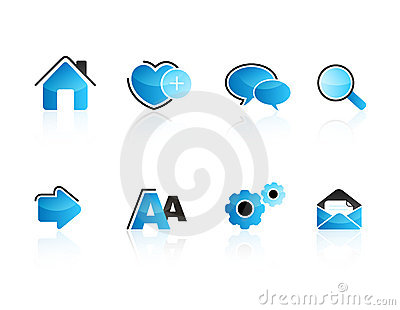 Aqua web icon set