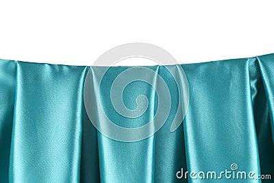 Aquamarine silk drapery.