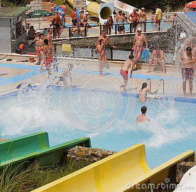 Aquapark constructions in swimming-pool Editorial Stock Image