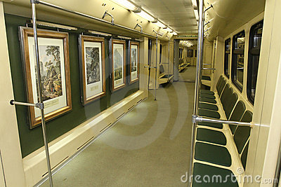 Aquarelle subway train in Moscow Metro Editorial Photography