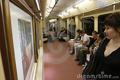 Aquarelle train in Moscow subway Editorial Photography
