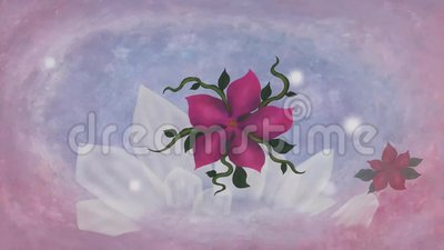 Aquarellmalerei Kunst der Rock-Kristall-Mineral schwimmende Blumen Animation MP4 stock abbildung