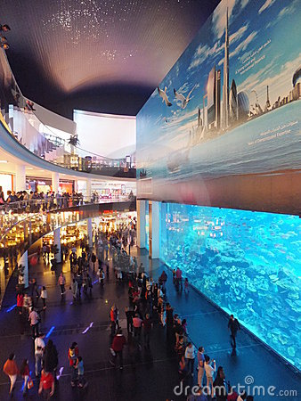 Aquarium at Dubai Mall Editorial Stock Photo