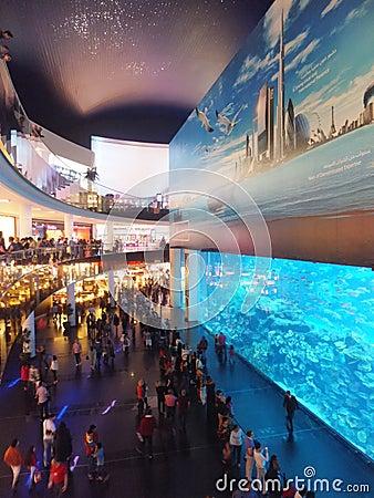Aquarium at Dubai Mall Editorial Stock Photo