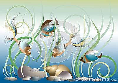 Aquarium exotic fish. Pattern.