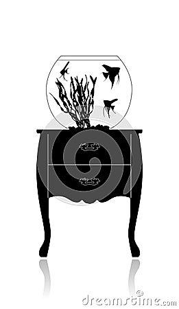Aquarium rond sur une petite table illustration de vecteur for Achat aquarium rond