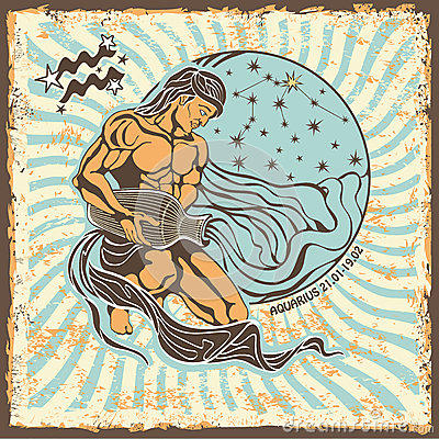 Free Aquarius Zodiac Sign.Vintage Horoscope Card Royalty Free Stock Photo - 40566095