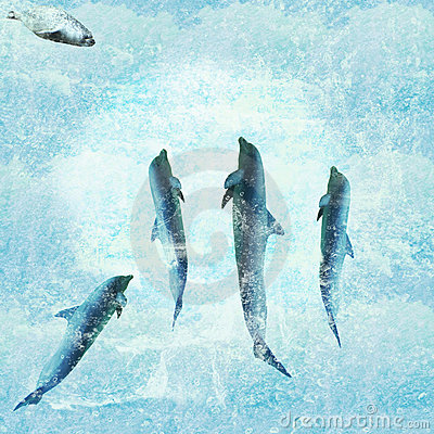 Aquatic background with dolphins dancing