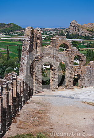 Aqueduct at Aspendos in Antalya Turkey