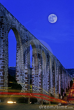 Aqueduct with moon