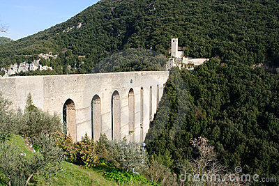Aqueduct in Spoleto, Italy, Europe
