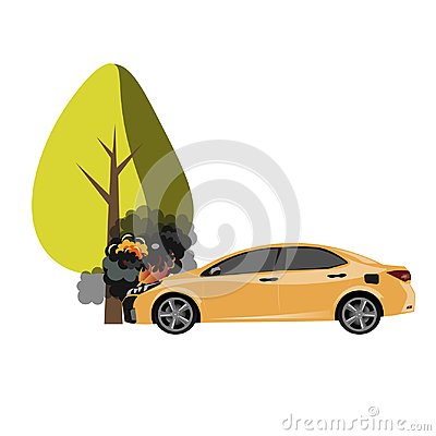 ar crash with a big tree Vector Illustration