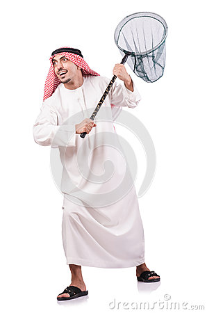 Arab businessman with catching net