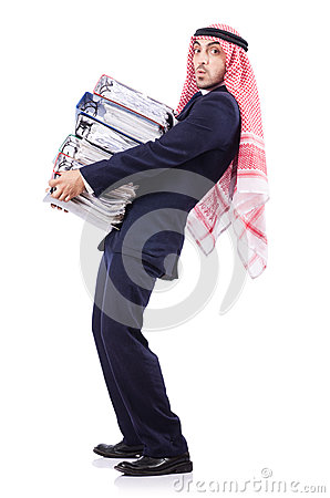 Arab businessman with many folders
