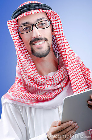 Arab businessman with tablet