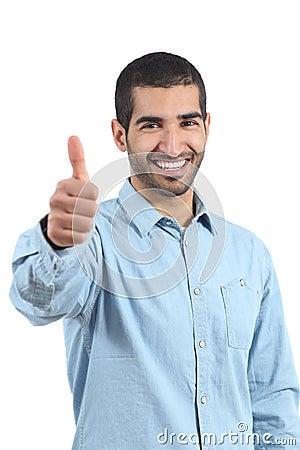 Arab casual happy man gesturing thumbs up