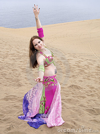 Arab dancing at deset seaside