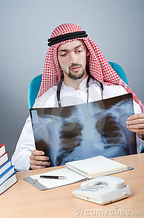 Arab doctor with x-ray