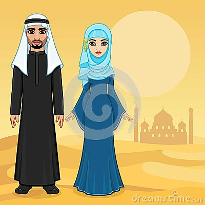 Free Arab Fairy Tale. Animation Portrait Of The Beautiful Arabic Family In Ancient Clothes. Royalty Free Stock Image - 118233936