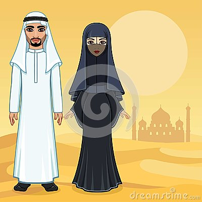 Free Arab Fairy Tale. Animation Portrait Of The Beautiful Arabic Family In Ancient Clothes. Stock Images - 118233974